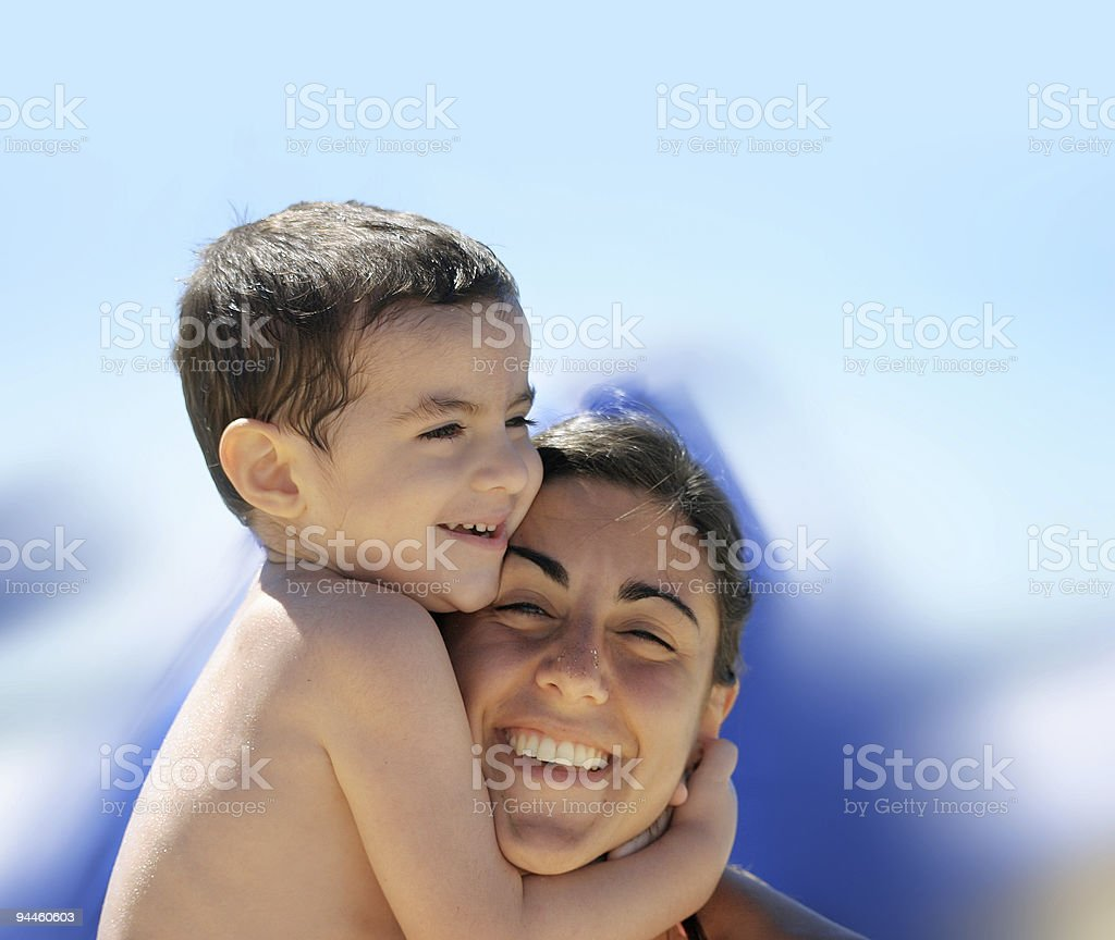 Boy with his mother royalty-free stock photo