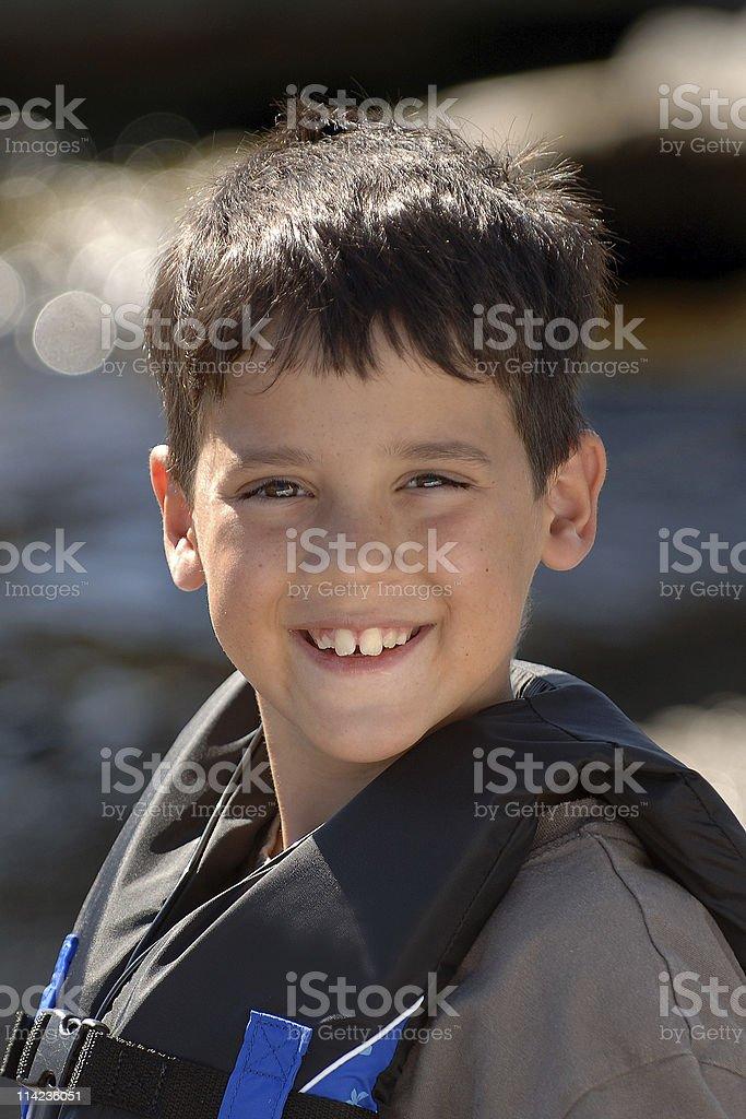 Boy with Lifejacket royalty-free stock photo