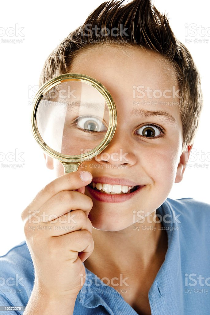boy with magnifier royalty-free stock photo