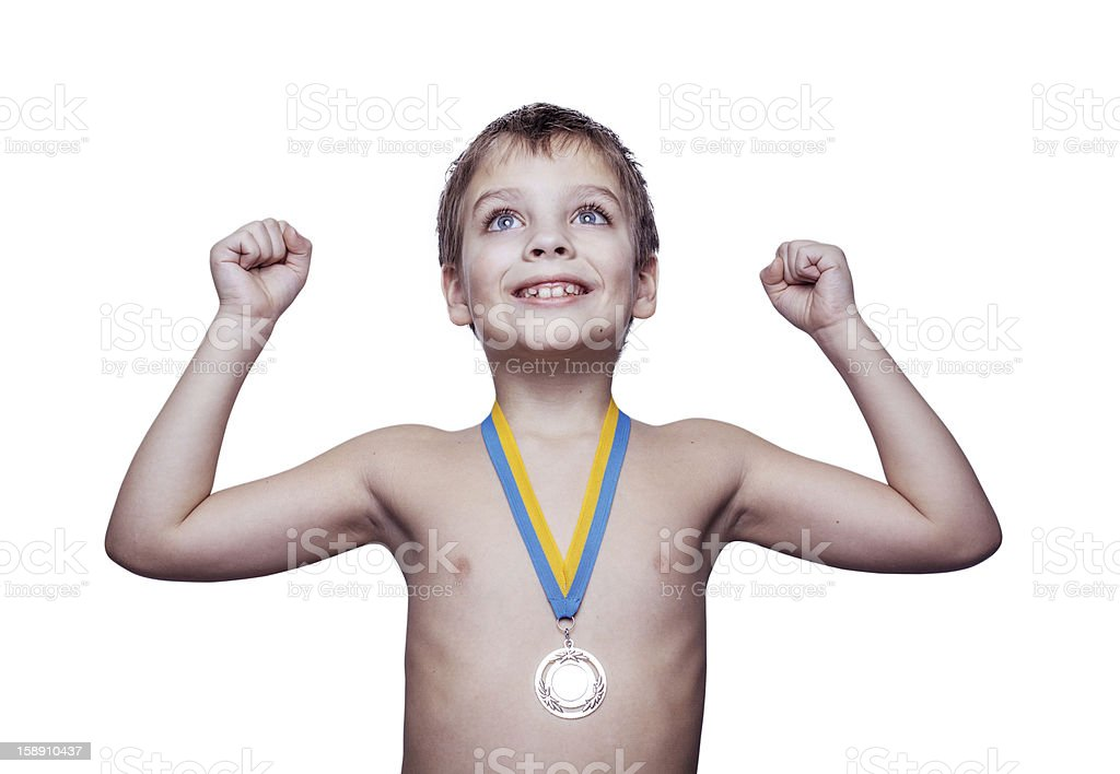 Boy with medal royalty-free stock photo