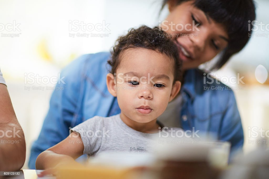 Boy with mother stock photo