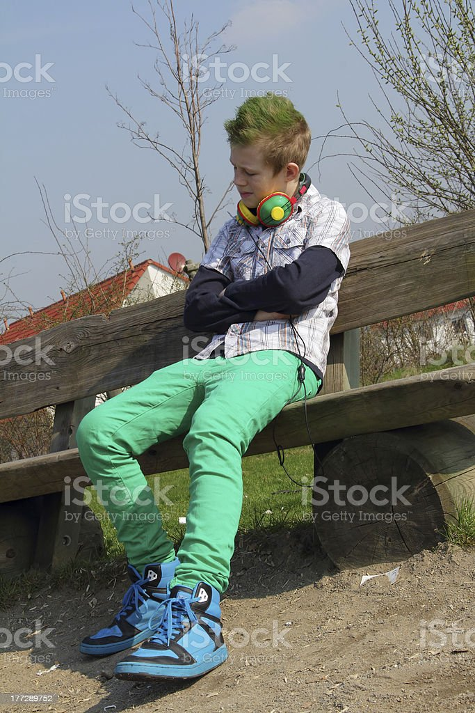 boy with music stock photo