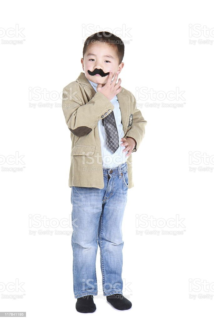 boy with mustache and bossy expression (series) royalty-free stock photo