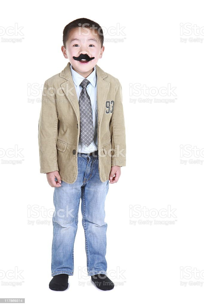 boy with mustache and goofy expression (series) stock photo