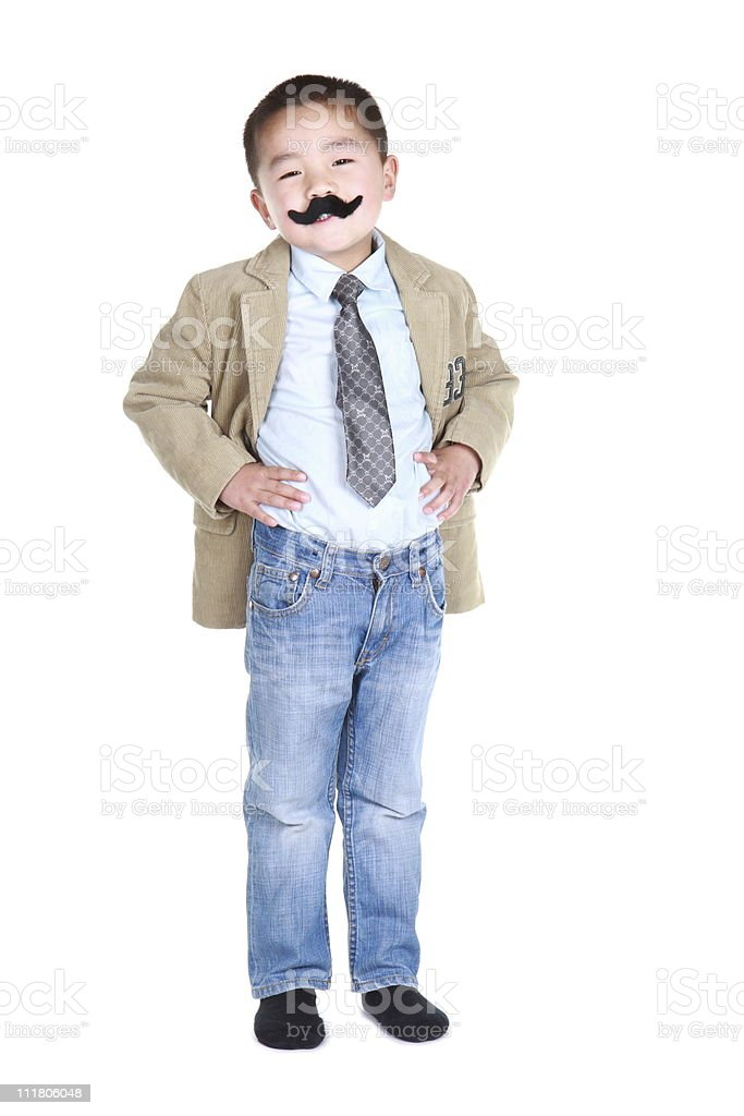 boy with mustache and resolute expression (series) royalty-free stock photo