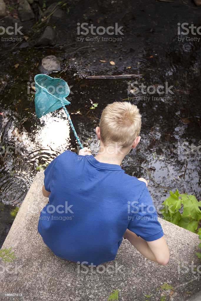 Boy with net and pond royalty-free stock photo
