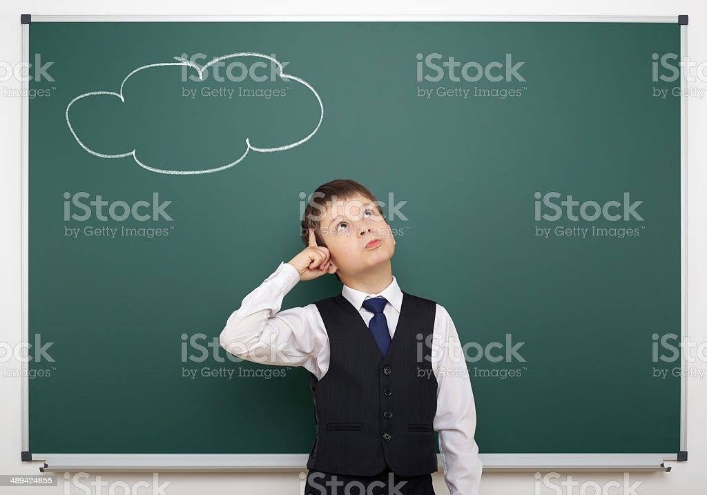 boy with painted cloud having idea stock photo