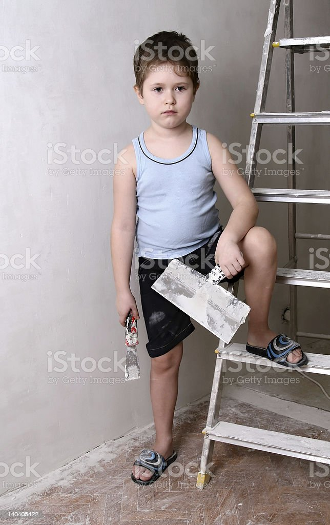Boy with palette-knife royalty-free stock photo
