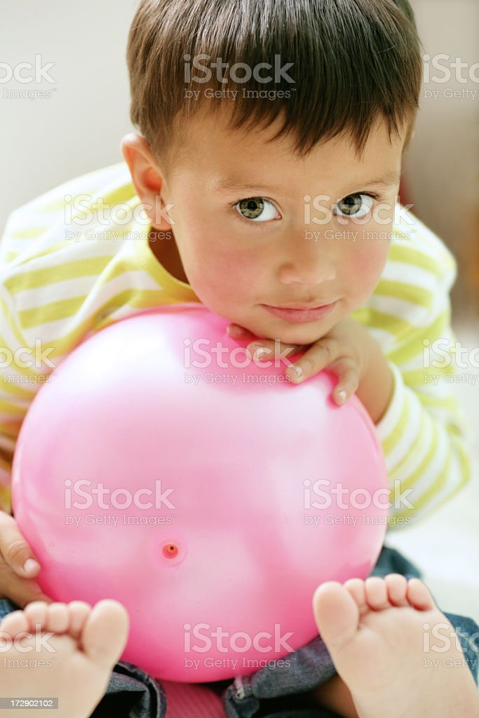 boy with pink ball royalty-free stock photo