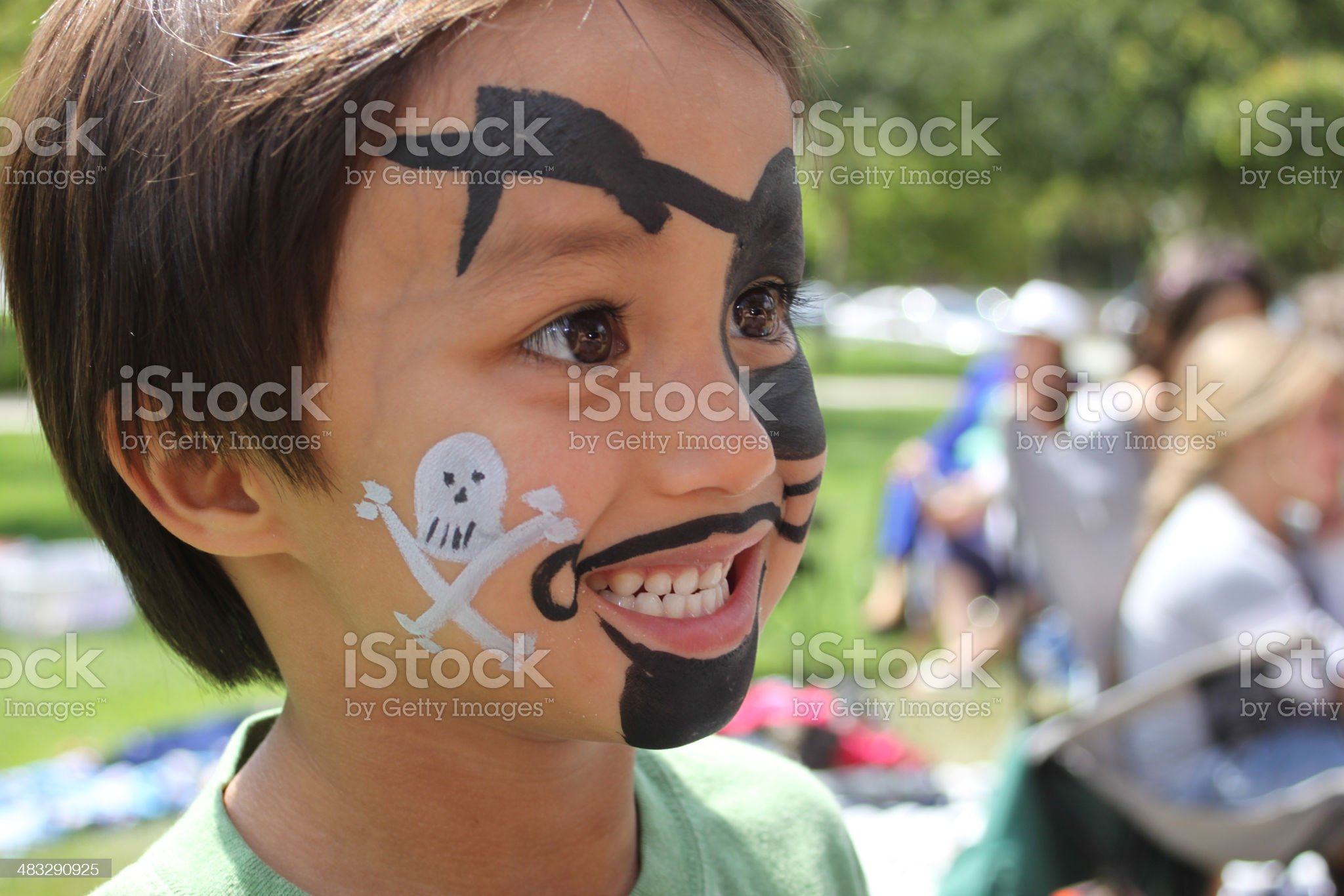 Boy with Pirate Face Paint - Side View royalty-free stock photo