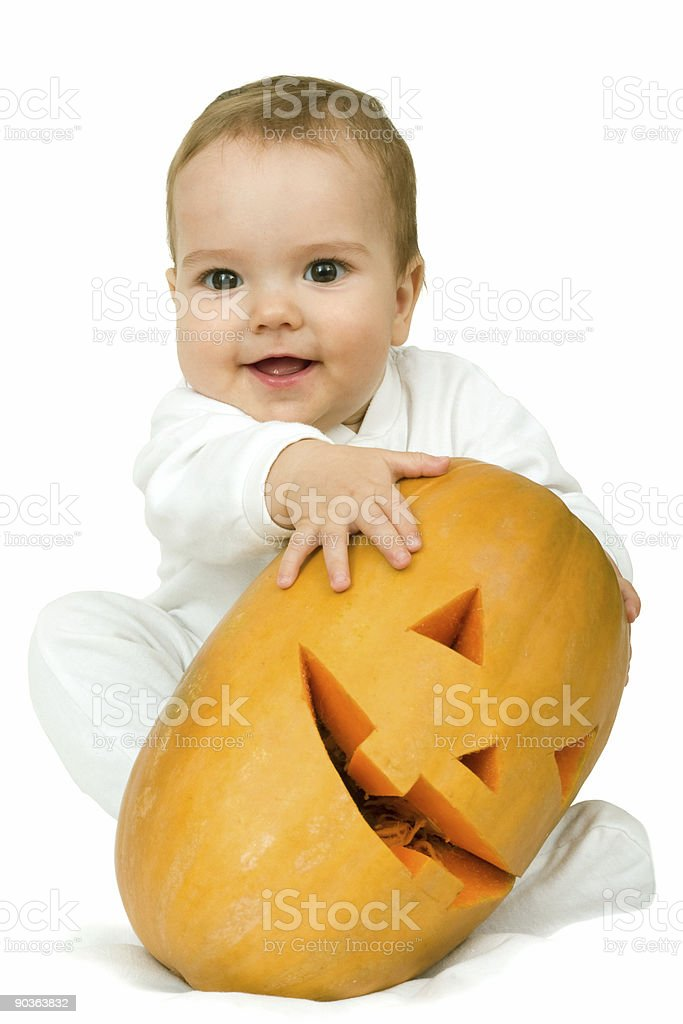 boy with pumpkin royalty-free stock photo