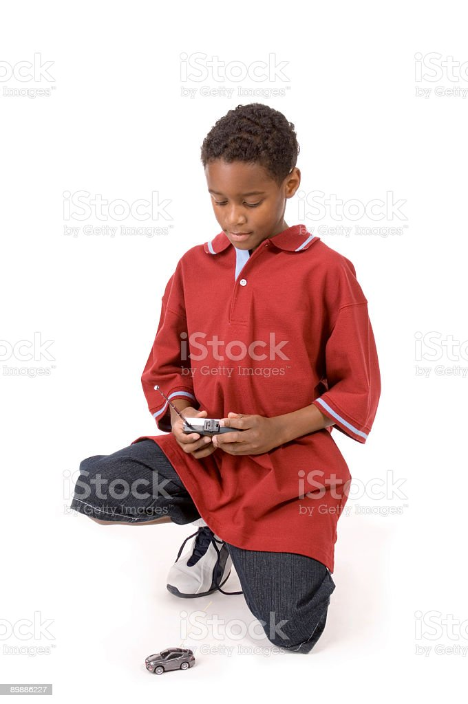 Boy with remote control car. stock photo