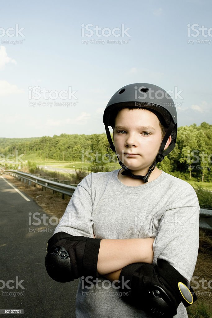 Boy with Safety Helmet royalty-free stock photo