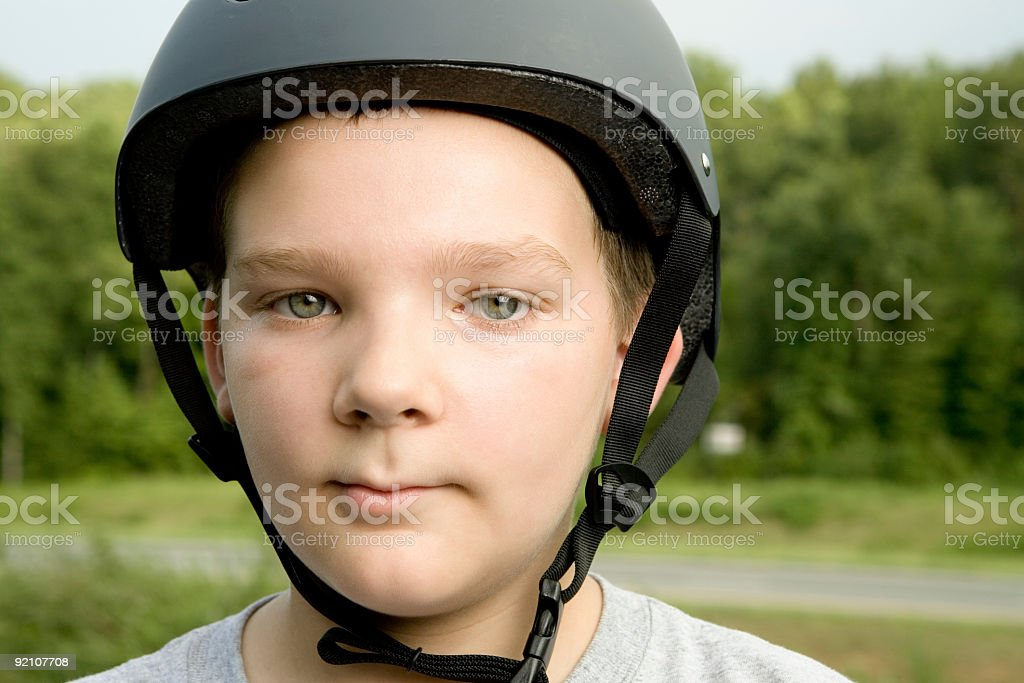 Boy with Safety Helmet stock photo