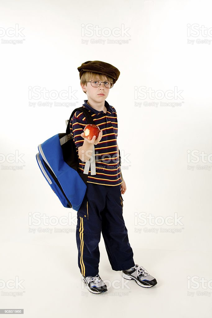 Boy with school books and backpack royalty-free stock photo