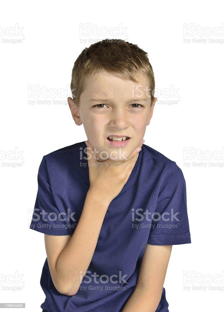 Boy with sore throat sick stock photo