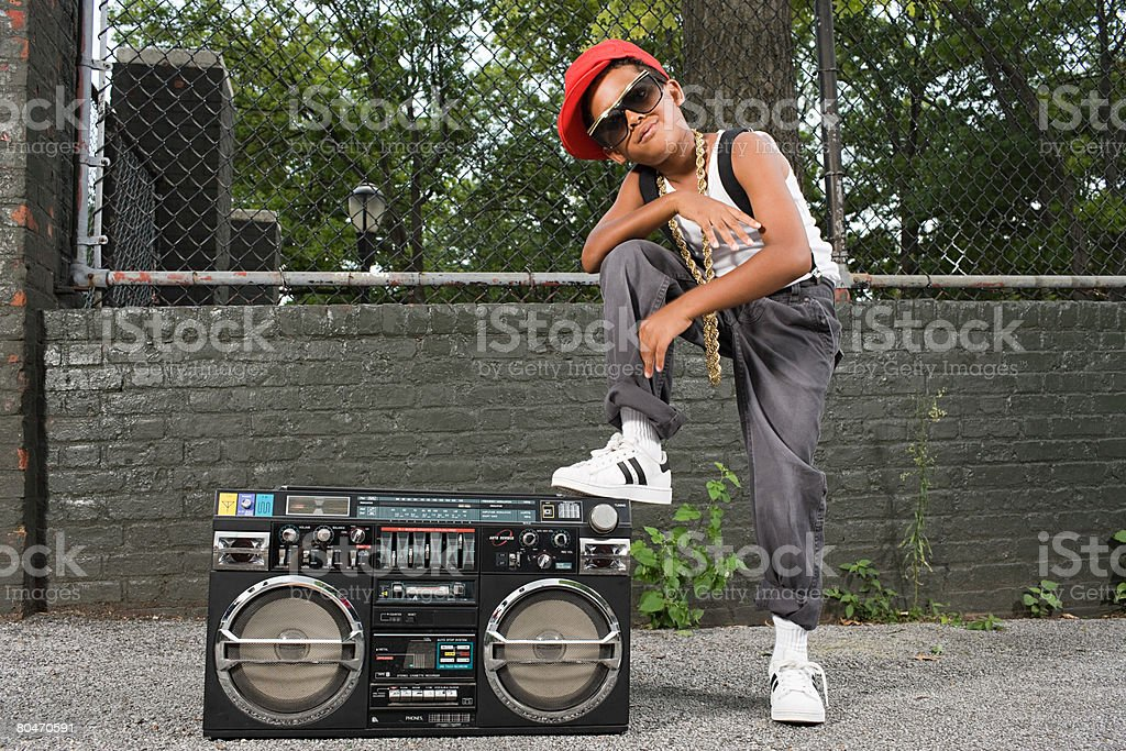 Boy with stereo royalty-free stock photo