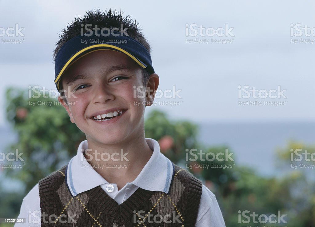 Boy with sun visor royalty-free stock photo