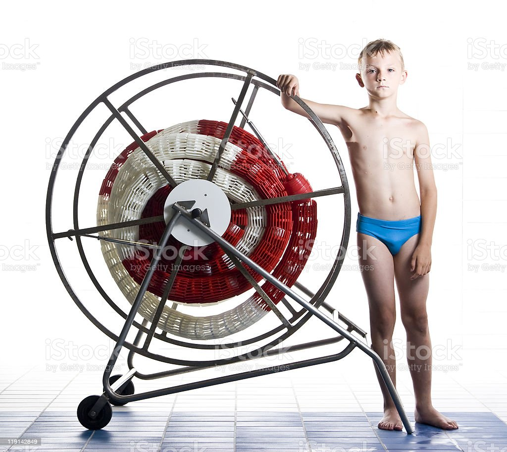 Boy with swimming pool line stock photo