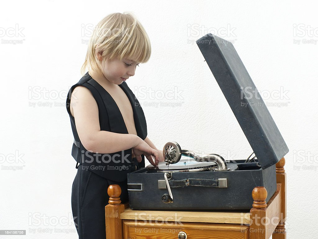 Boy with the phonograph royalty-free stock photo