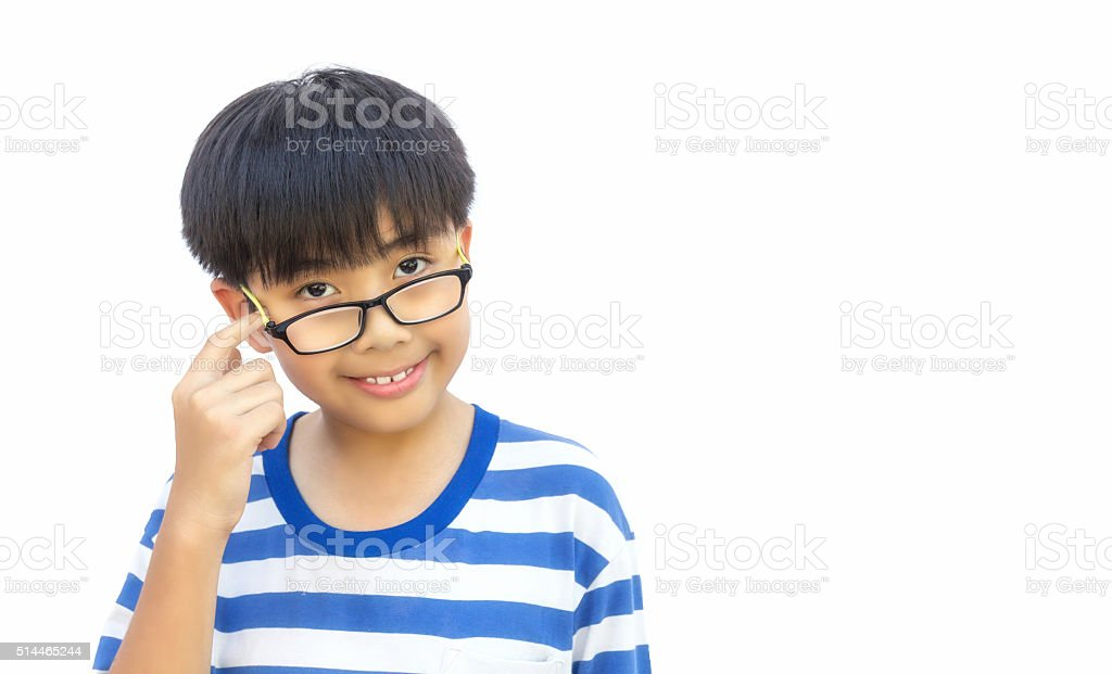 Boy with thinking action on isolated background. stock photo