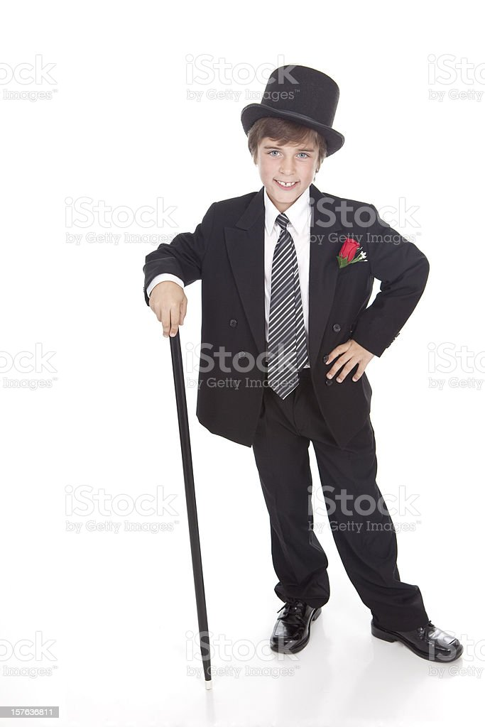 Boy With Top Hat and Cane stock photo