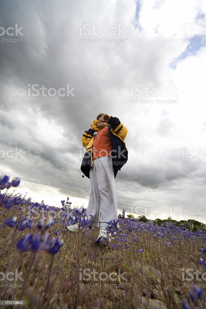 Boy with toy standing in field of wildflowers under clouds. stock photo