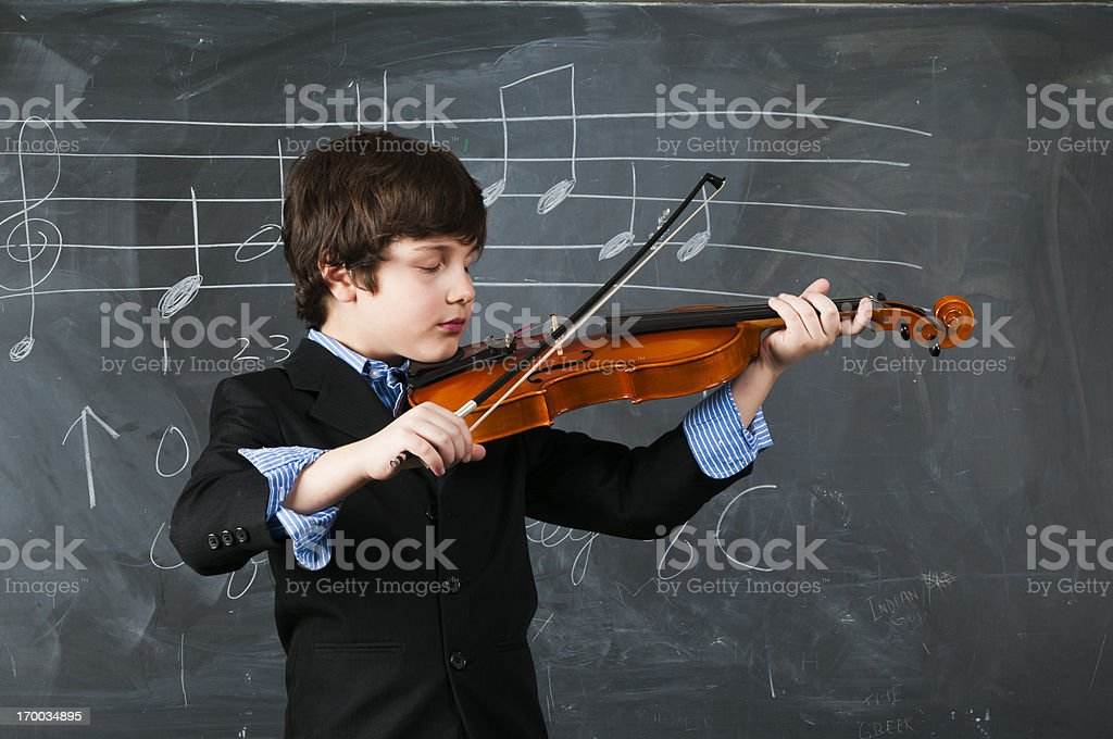 Boy with violin royalty-free stock photo