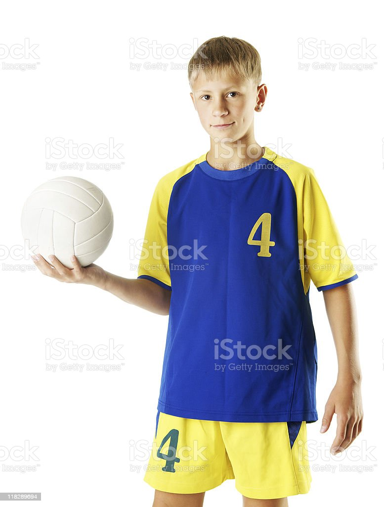 Boy with vollyball royalty-free stock photo