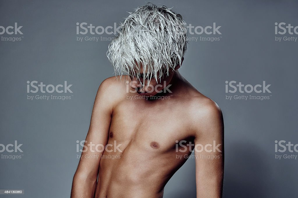 Boy with white hair stock photo