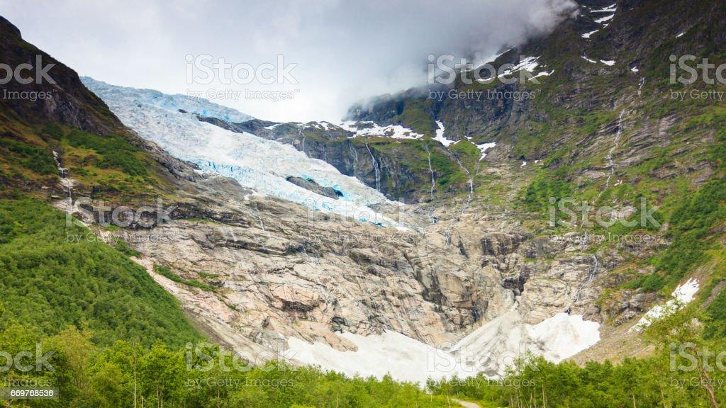 Boyabreen Glacier in Norway stock photo