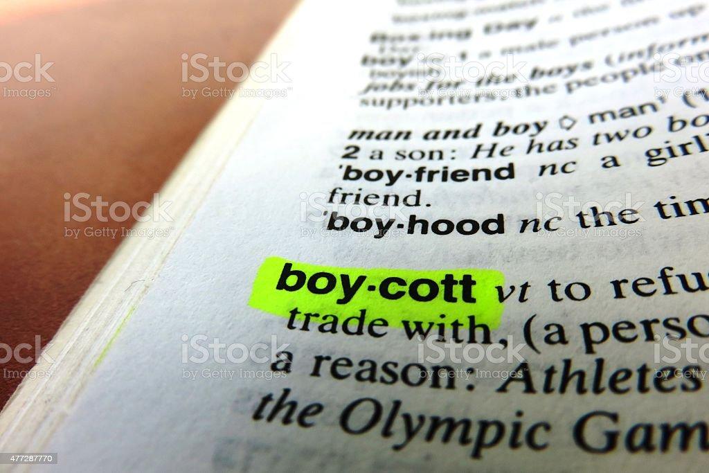 Boycott -  dictionary definition stock photo