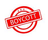 Boycott word on rubber stamp