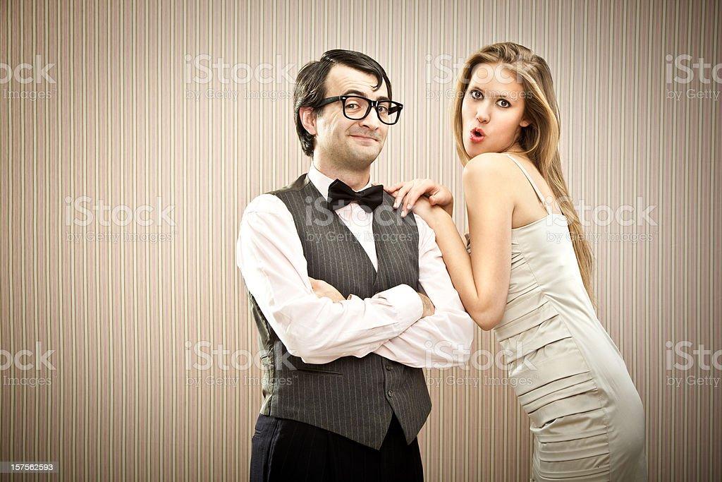 boyfriend courts his girlfriend stock photo