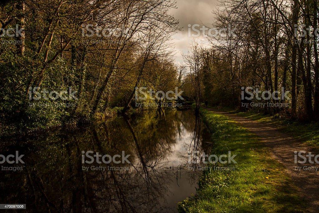 Boyne Canal and Bridge in the rain stock photo