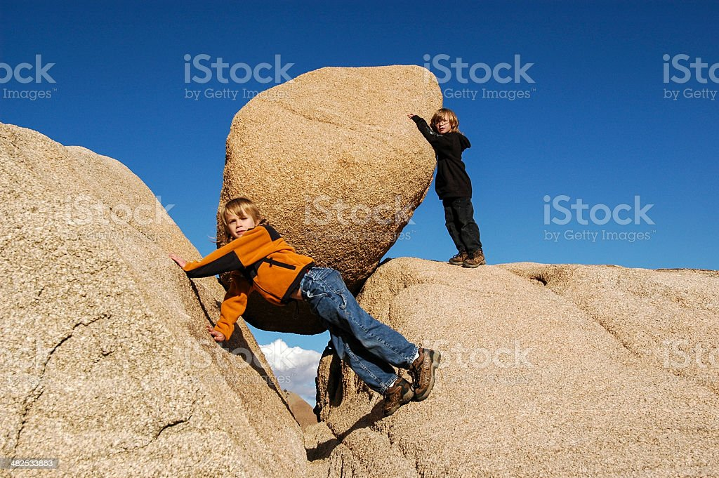 Boys and Boulders royalty-free stock photo