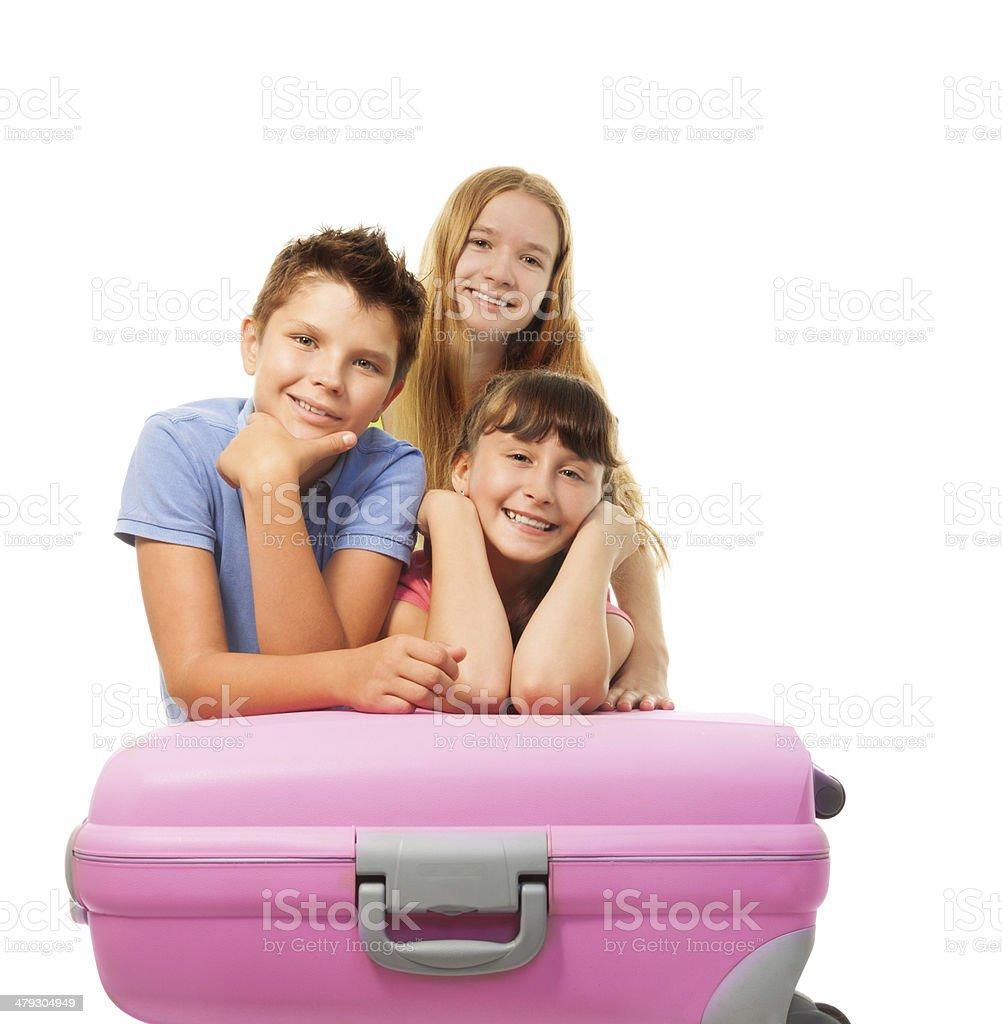 Boys and girls anticipating vacation stock photo