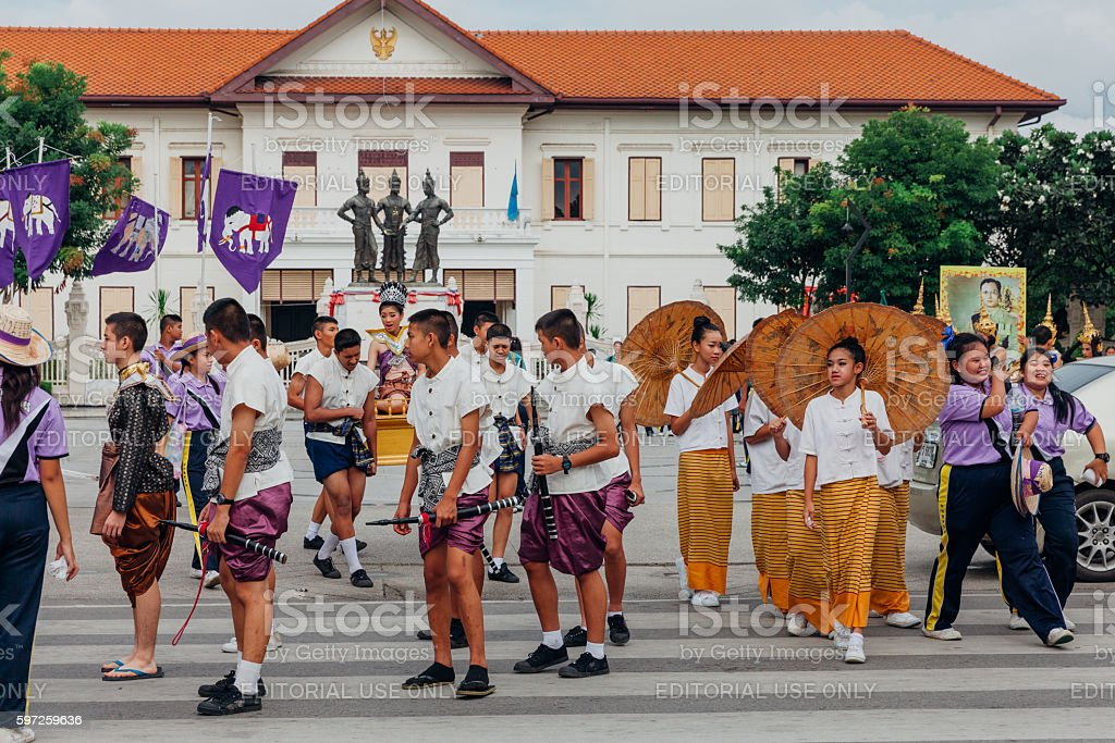 Boys and girls in festival costumes in Chiang Mai stock photo