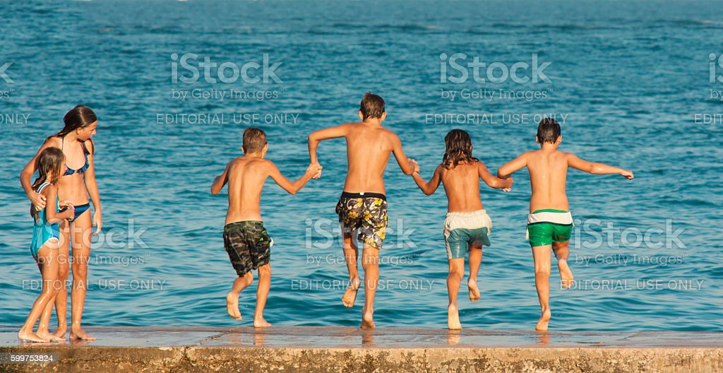 Boys and girls stock photo
