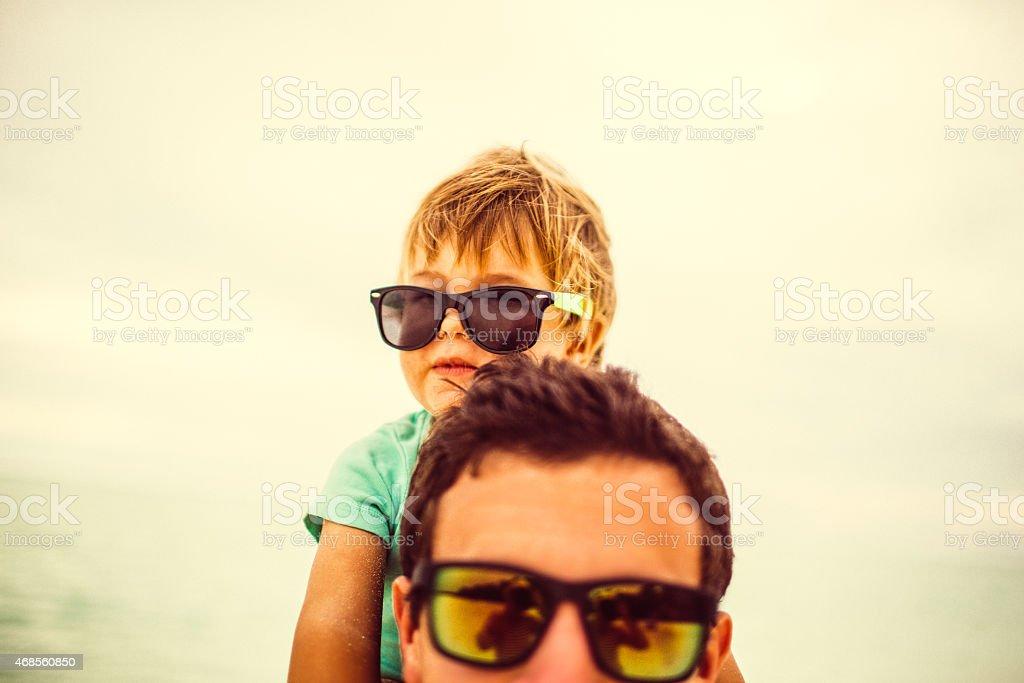 Boys at the beach stock photo
