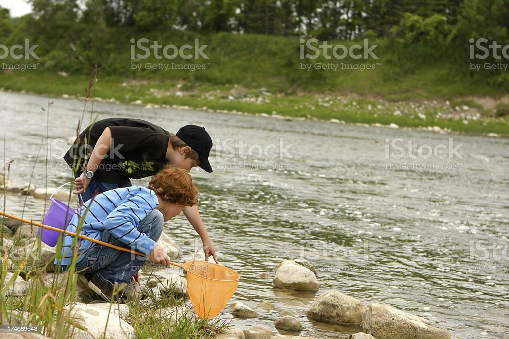 Boys at the River royalty-free stock photo