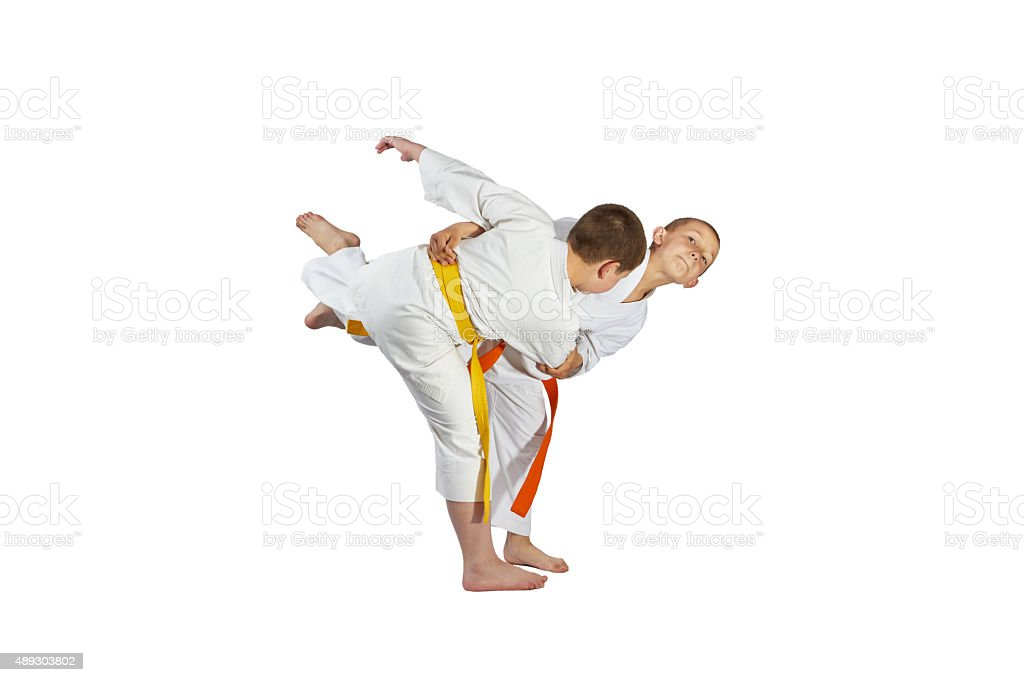 Boys athletes are training throws of judo stock photo