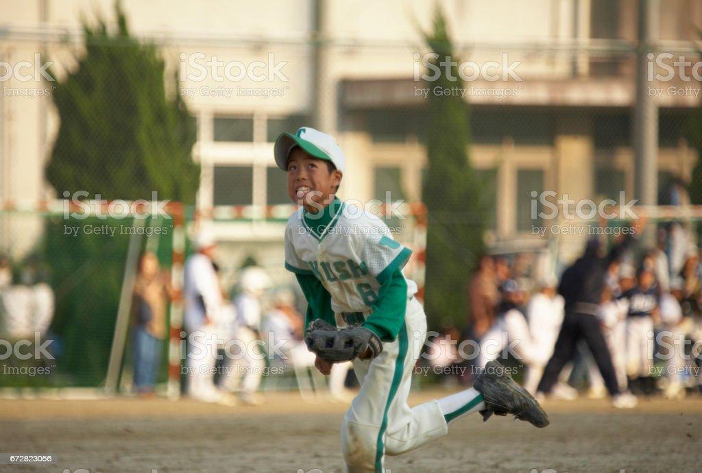 Boys baseball stock photo