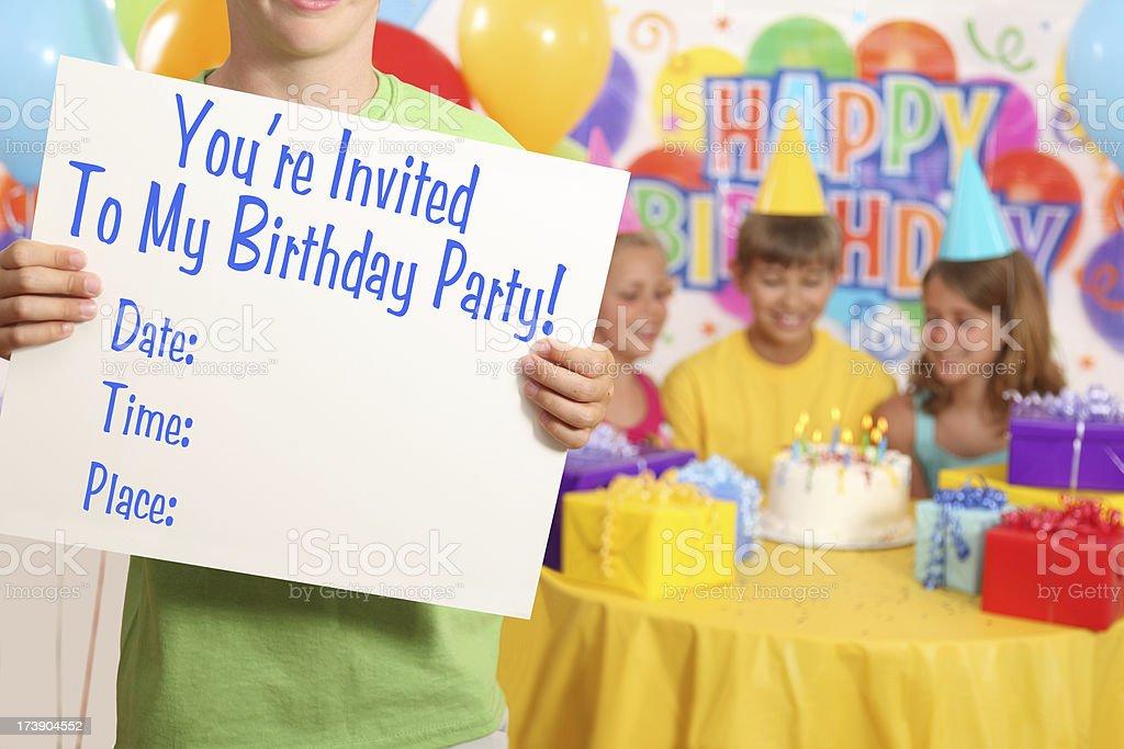 Boy's Birthday Party Invitation royalty-free stock photo
