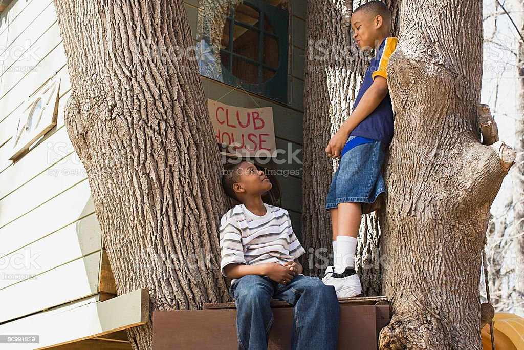 Boys by tree house stock photo