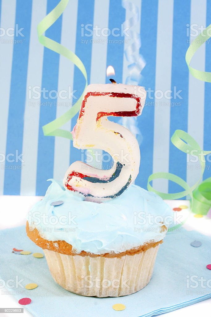 boy's fifth  birthday stock photo