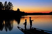 Boys Fishing at Sunset
