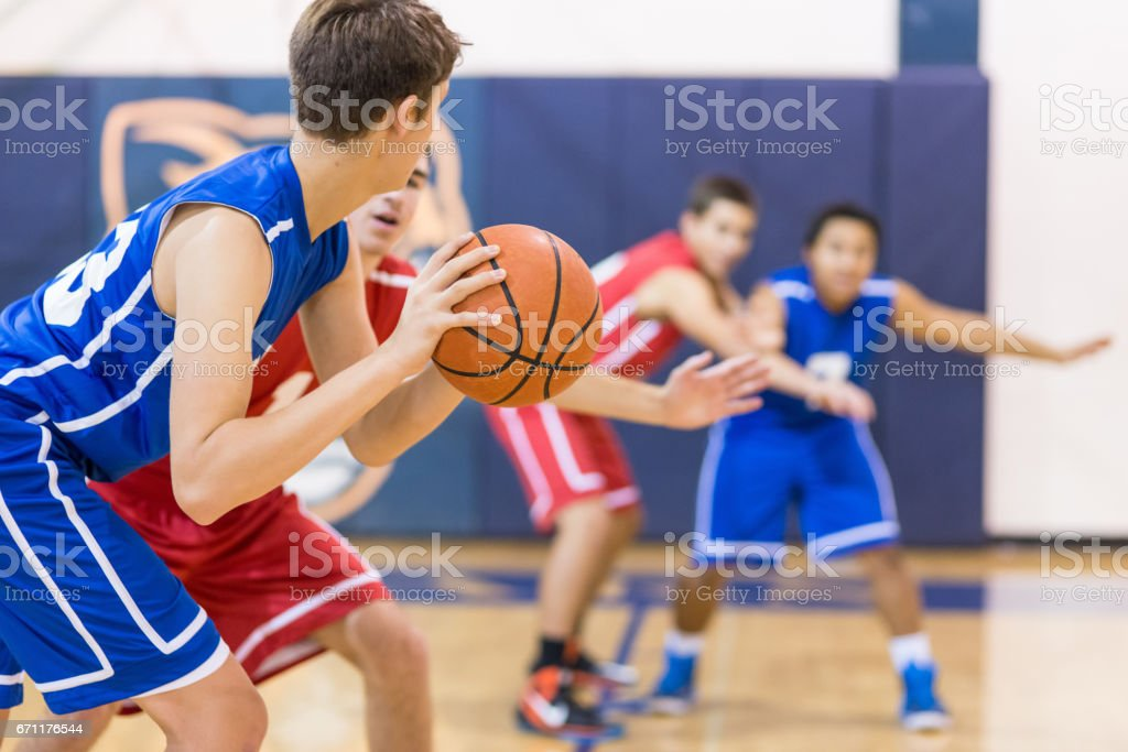 player about to shoot over defender