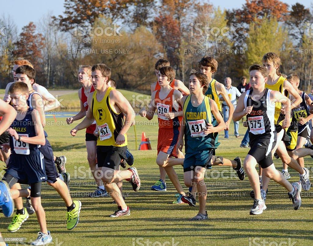 Boys High School Cross Country Meet stock photo