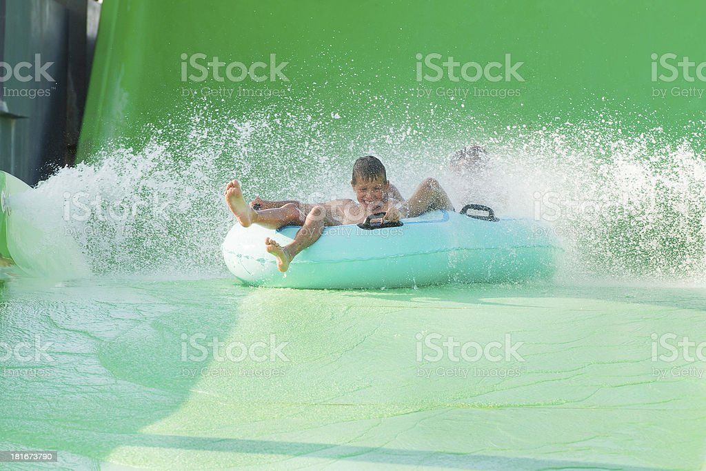 boys in aquapark stock photo